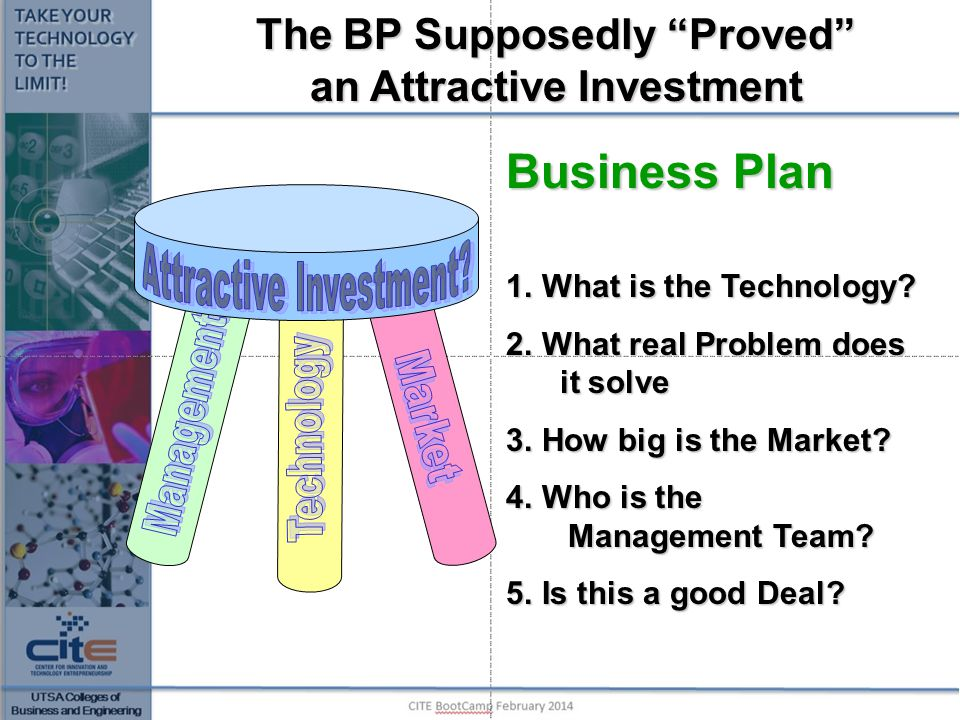 What really happens 1.Skim through the Slides 2.Look at the financials $ Revenue line 3.Look at the Management Team If you are not there: Perhaps 90 seconds Is there a 'hook'.