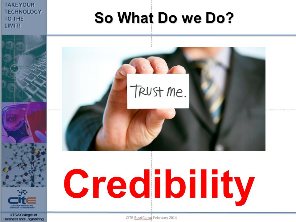 So What Do we Do? Credibility