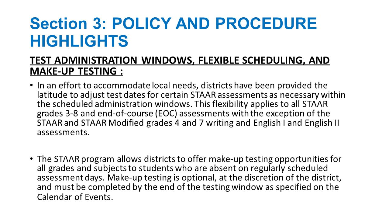 Section 3: POLICY AND PROCEDURE HIGHLIGHTS REFERENCE MATERIALS, SCRATCH PAPER, GRAPH PAPER, AND CHARTS: Reference materials (e.g., formula charts) for STAAR mathematics and science assessments and graph paper for STAAR mathematics assessments will be included in the test booklets issued to students.
