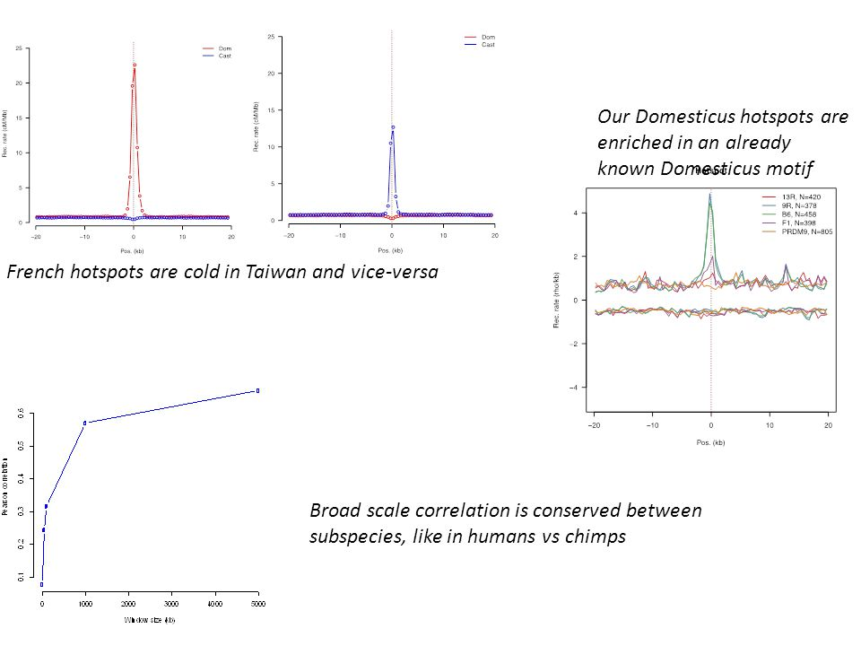 French hotspots are cold in Taiwan and vice-versa Our Domesticus hotspots are enriched in an already known Domesticus motif Broad scale correlation is