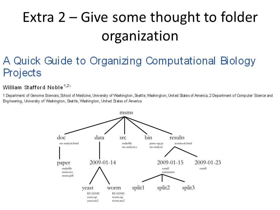 Extra 2 – Give some thought to folder organization