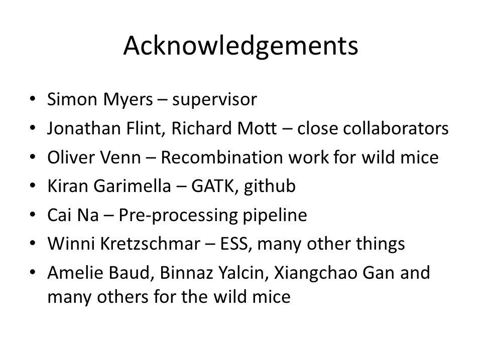 Acknowledgements Simon Myers – supervisor Jonathan Flint, Richard Mott – close collaborators Oliver Venn – Recombination work for wild mice Kiran Gari