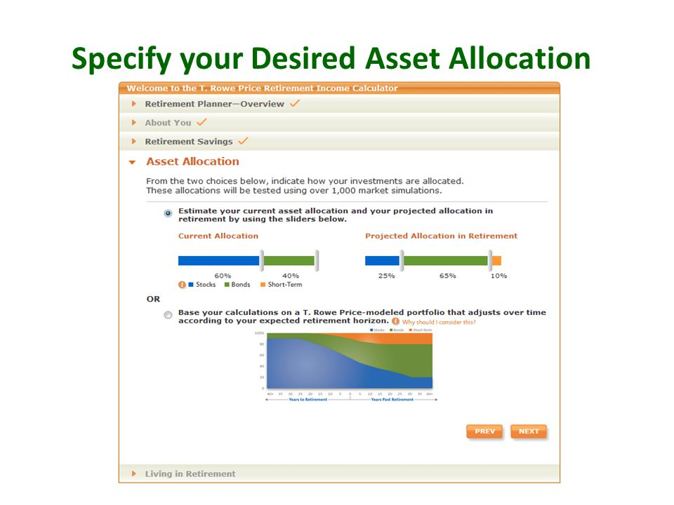 Specify your Desired Asset Allocation