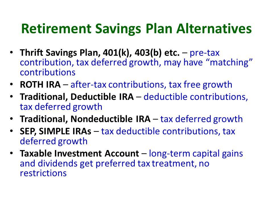 Retirement Savings Plan Alternatives Thrift Savings Plan, 401(k), 403(b) etc.