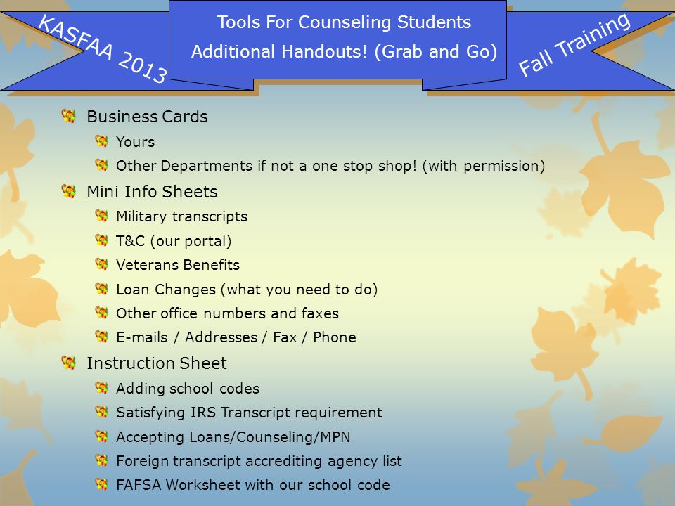 Tools For Counseling Students Additional Handouts.