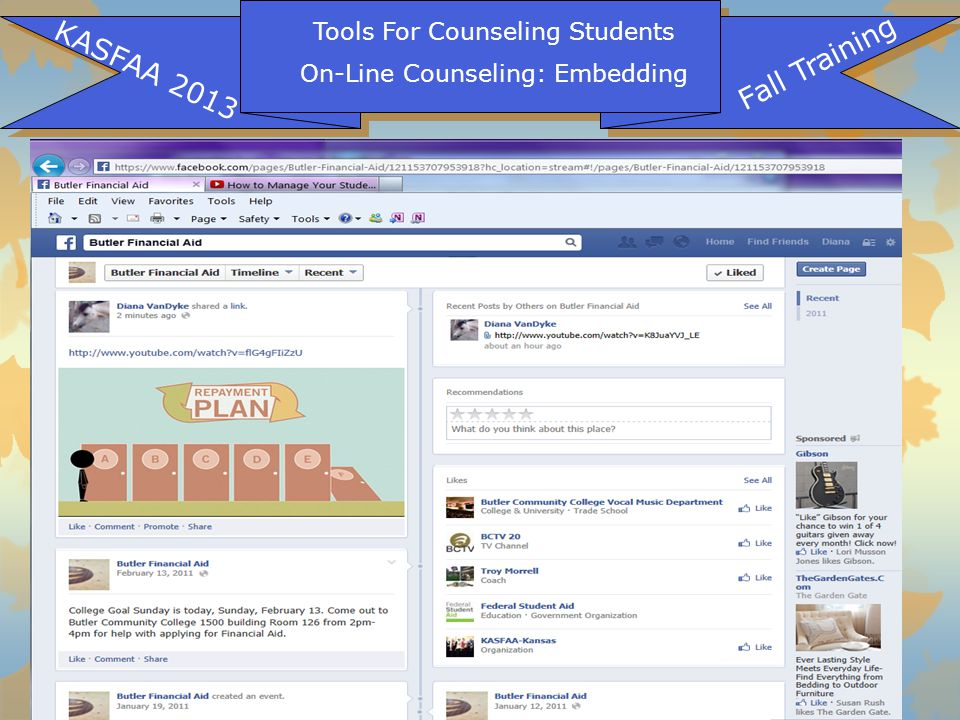 Tools For Counseling Students On-Line Counseling: Embedding KASFAA 2013 Fall Training