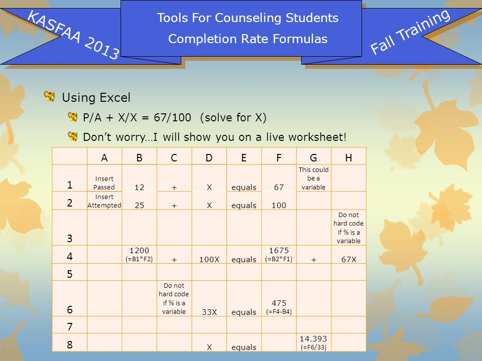Tools For Counseling Students Completion Rate Formulas KASFAA 2013 Fall Training Using Excel P/A + X/X = 67/100 (solve for X) Don't worry…I will show you on a live worksheet.