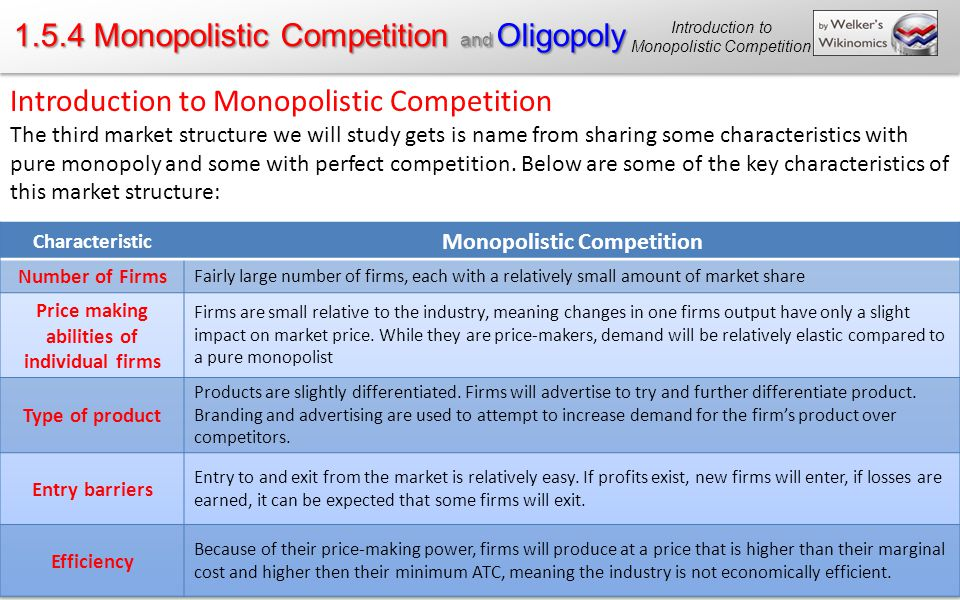 1.5.4 Monopolistic Competition and Oligopoly Introduction to Monopolistic Competition The third market structure we will study gets is name from sharing some characteristics with pure monopoly and some with perfect competition.