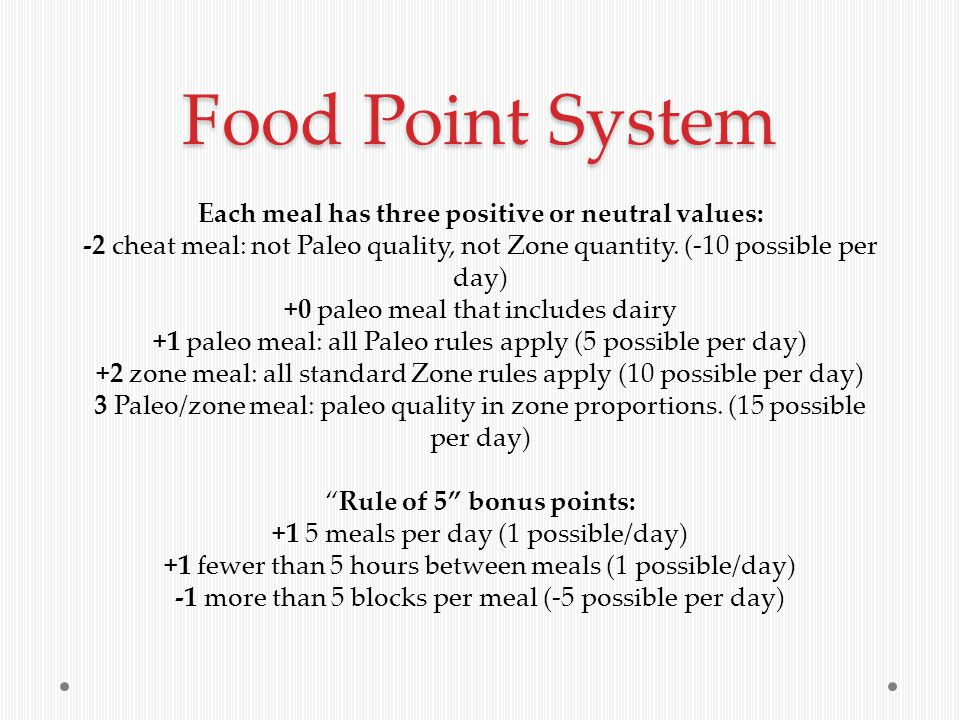 Food Point System Each meal has three positive or neutral values: -2 cheat meal: not Paleo quality, not Zone quantity.