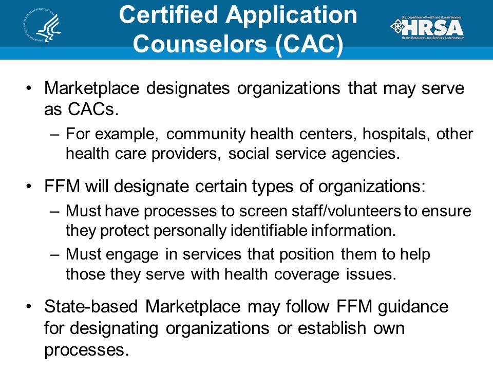 Marketplace designates organizations that may serve as CACs.