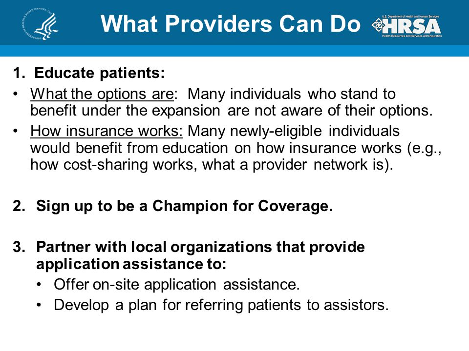 What Providers Can Do 1.