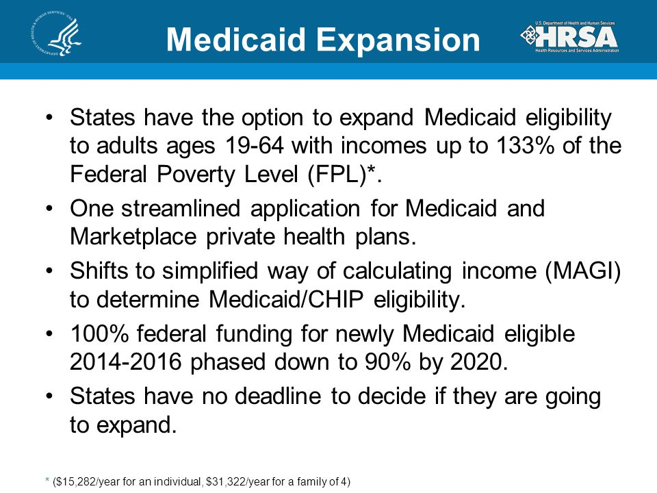 Medicaid Expansion States have the option to expand Medicaid eligibility to adults ages 19-64 with incomes up to 133% of the Federal Poverty Level (FPL)*.