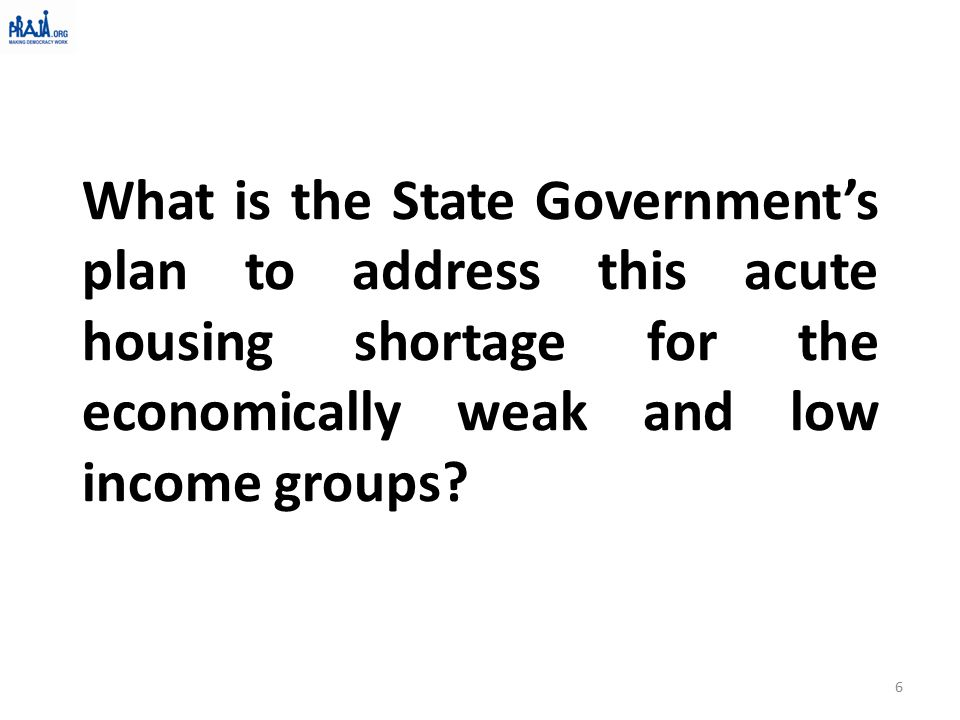 What is the State Government's plan to address this acute housing shortage for the economically weak and low income groups.