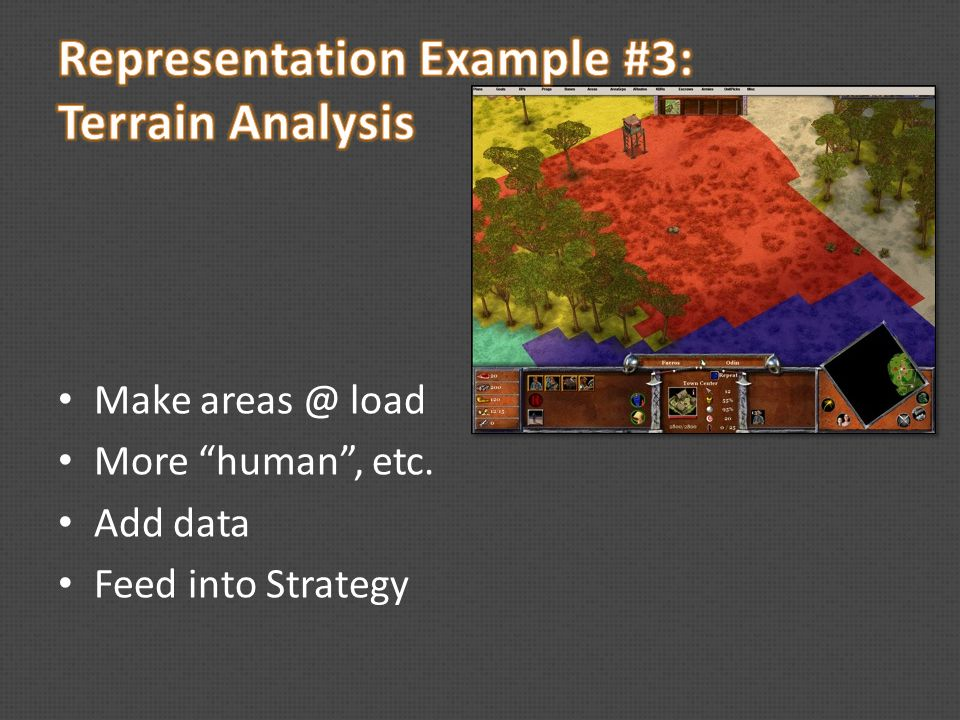 Make areas @ load More human , etc. Add data Feed into Strategy