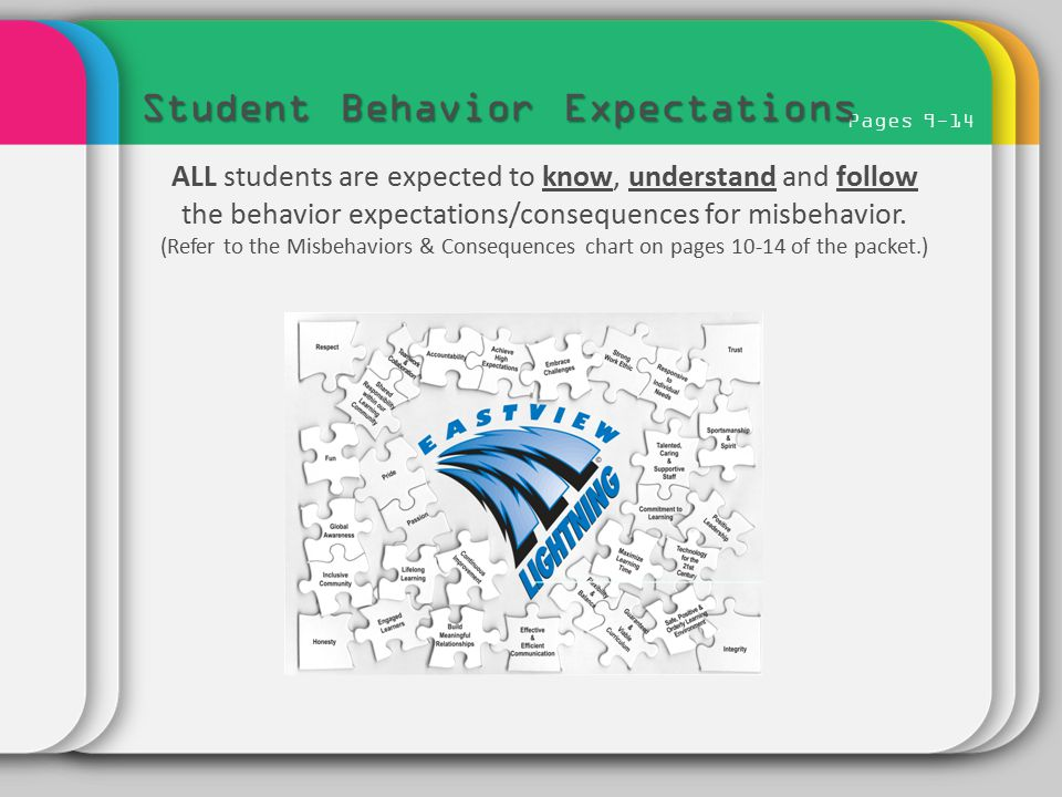 Pages 9-14 Student Behavior Expectations ALL students are expected to know, understand and follow the behavior expectations/consequences for misbehavi