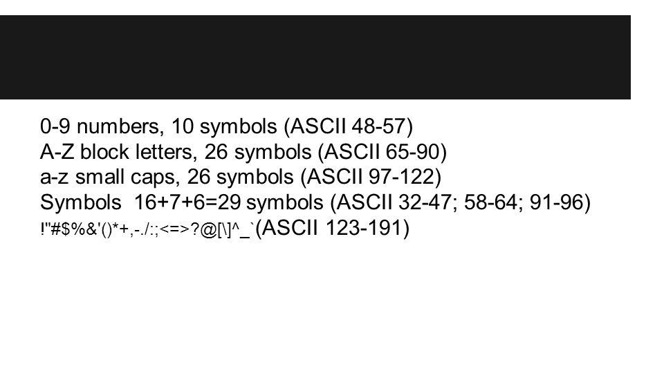 0-9 numbers, 10 symbols (ASCII 48-57) A-Z block letters, 26 symbols (ASCII 65-90) a-z small caps, 26 symbols (ASCII 97-122) Symbols 16+7+6=29 symbols
