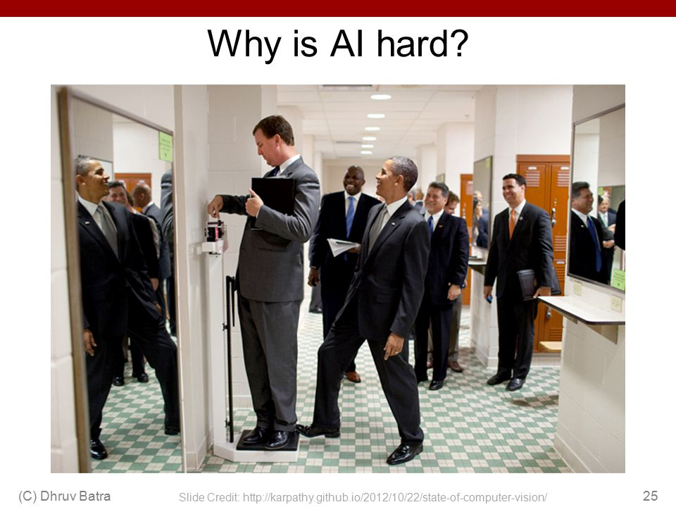 Why is AI hard? (C) Dhruv Batra25 Slide Credit: http://karpathy.github.io/2012/10/22/state-of-computer-vision/