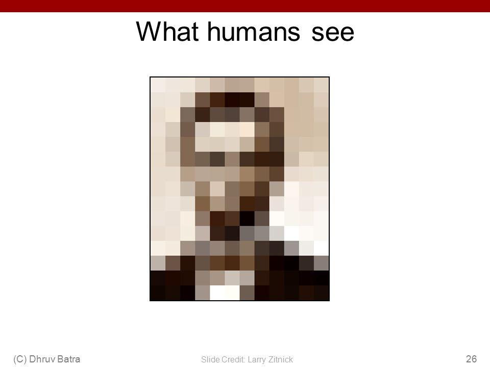 What humans see (C) Dhruv Batra26 Slide Credit: Larry Zitnick