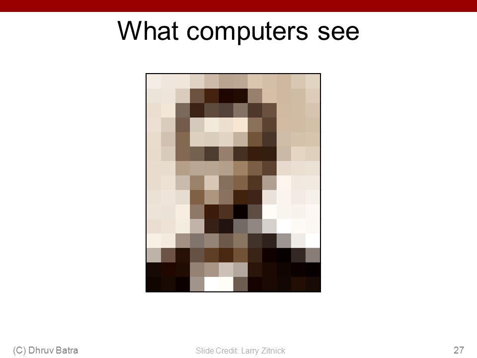 What computers see (C) Dhruv Batra27 Slide Credit: Larry Zitnick 243 239240225206185188218211206216225 242239218110673134152213206208221 24324212358948213277108208 215 23521711521224323624713991209208211 23320813122221922619611474208213214 23221713111677150695652201228223 232 18218618417915912393232235 23223620115421613312981175252241240 2352382301281721386563234249241245 23723624714359781094255248247251 2342372451935533115144213255253251 2482451611281491091386547156239255 1901073910294731145817751137 233233148168203179432717128 172612160255 1092226193524