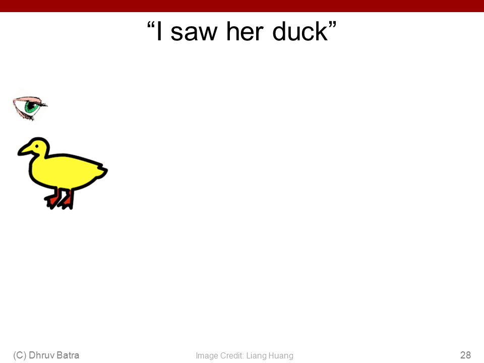 """I saw her duck"" (C) Dhruv Batra28 Image Credit: Liang Huang"