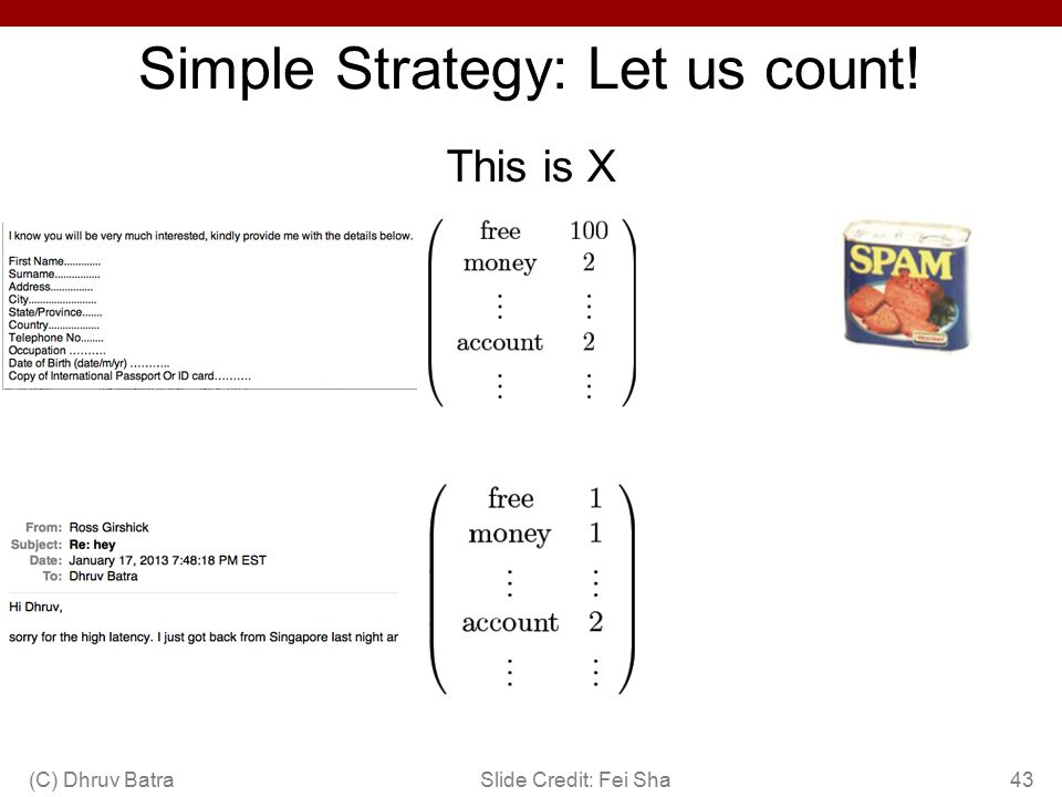 Simple Strategy: Let us count! (C) Dhruv Batra43Slide Credit: Fei Sha This is X