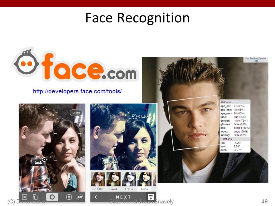 Face Recognition http://developers.face.com/tools/ 49Slide Credit: Noah Snavely(C) Dhruv Batra