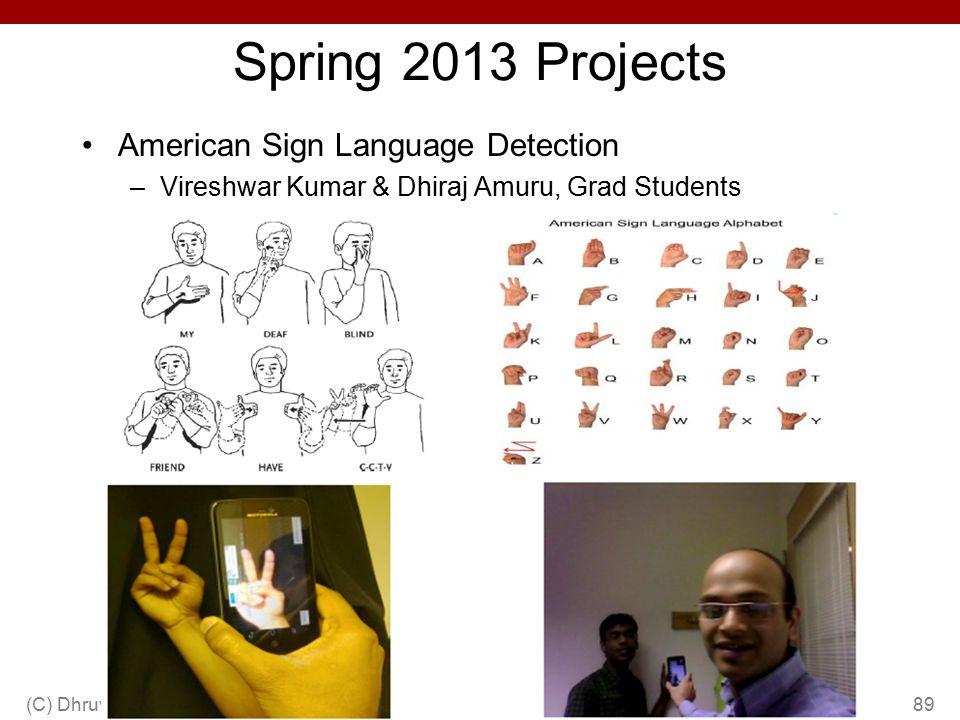 Spring 2013 Projects American Sign Language Detection –Vireshwar Kumar & Dhiraj Amuru, Grad Students (C) Dhruv Batra89