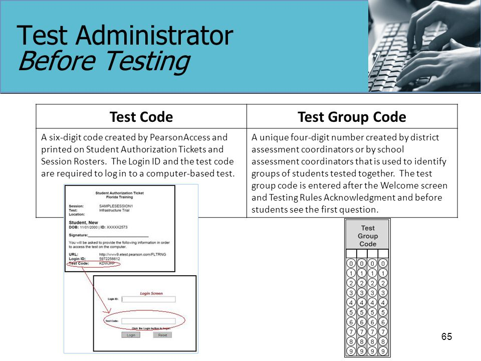 Test Administrator Before Testing Test CodeTest Group Code A six-digit code created by PearsonAccess and printed on Student Authorization Tickets and Session Rosters.