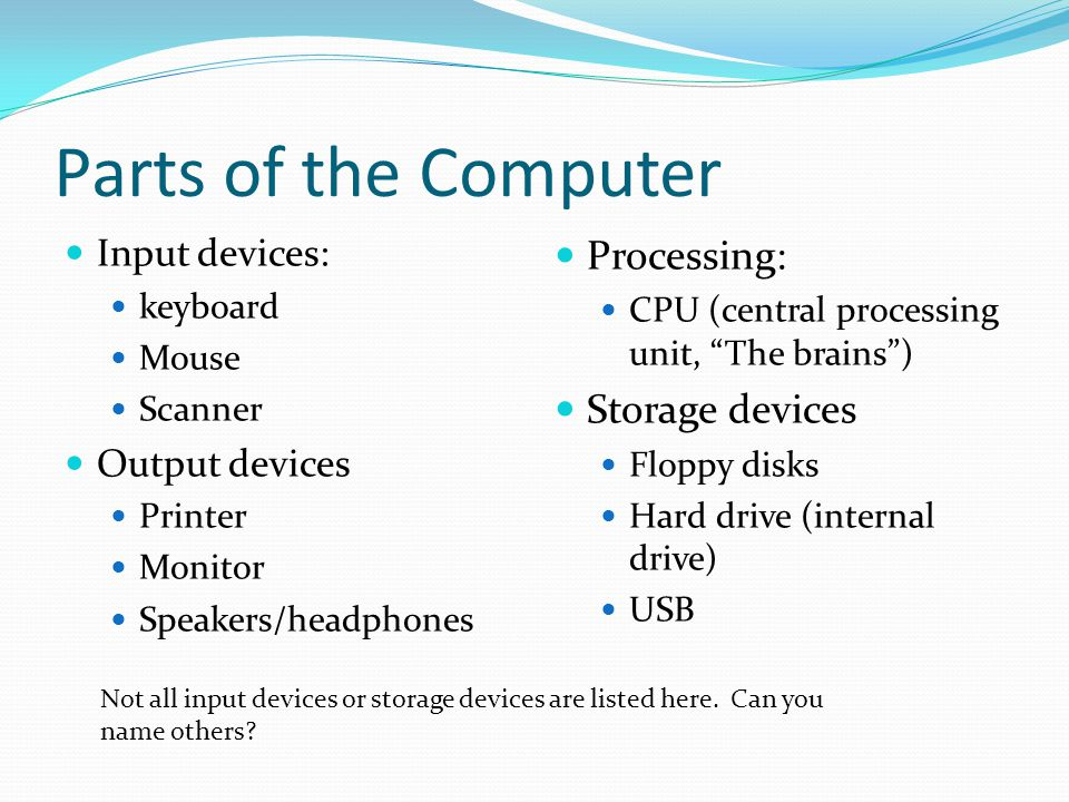 Parts of the Computer Input devices: keyboard Mouse Scanner Output devices Printer Monitor Speakers/headphones Processing: CPU (central processing unit, The brains ) Storage devices Floppy disks Hard drive (internal drive) USB Not all input devices or storage devices are listed here.