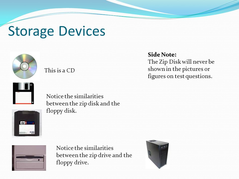 Storage Devices Notice the similarities between the zip disk and the floppy disk. Notice the similarities between the zip drive and the floppy drive.
