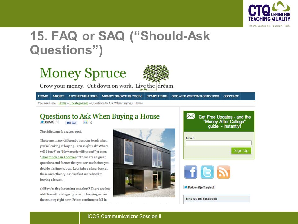 "15. FAQ or SAQ (""Should-Ask Questions"") ICCS Communications Session II"