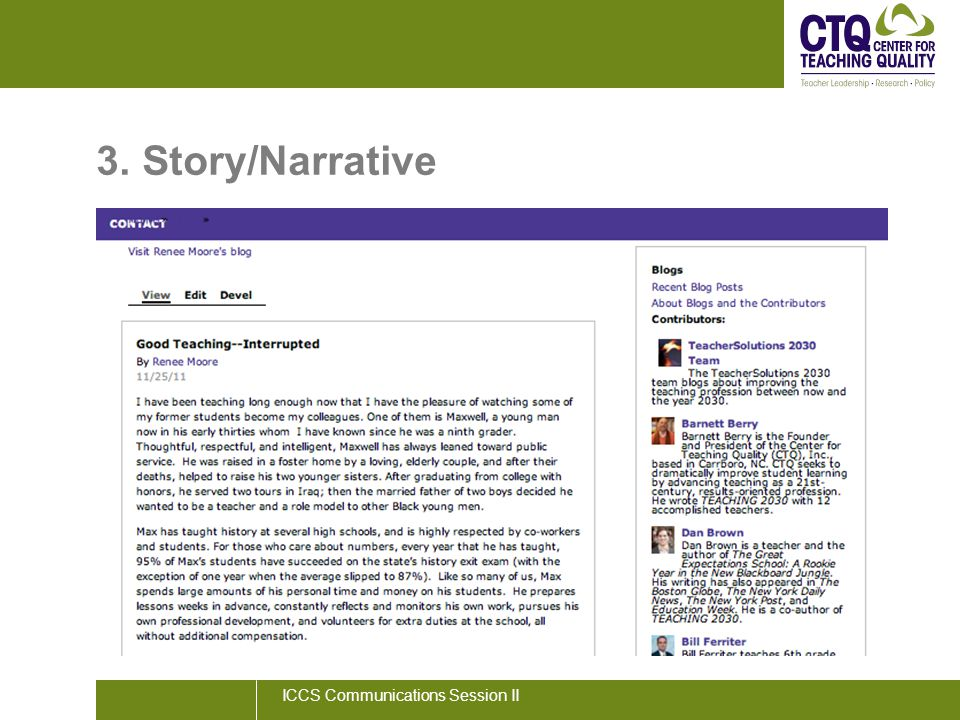 3. Story/Narrative ICCS Communications Session II