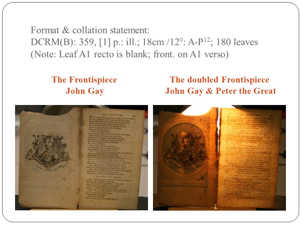 Format & collation statement: DCRM(B): 359, [1] p.: ill.; 18cm /12 0 : A-P 12 ; 180 leaves (Note: Leaf A1 recto is blank; front. on A1 verso) The Fron