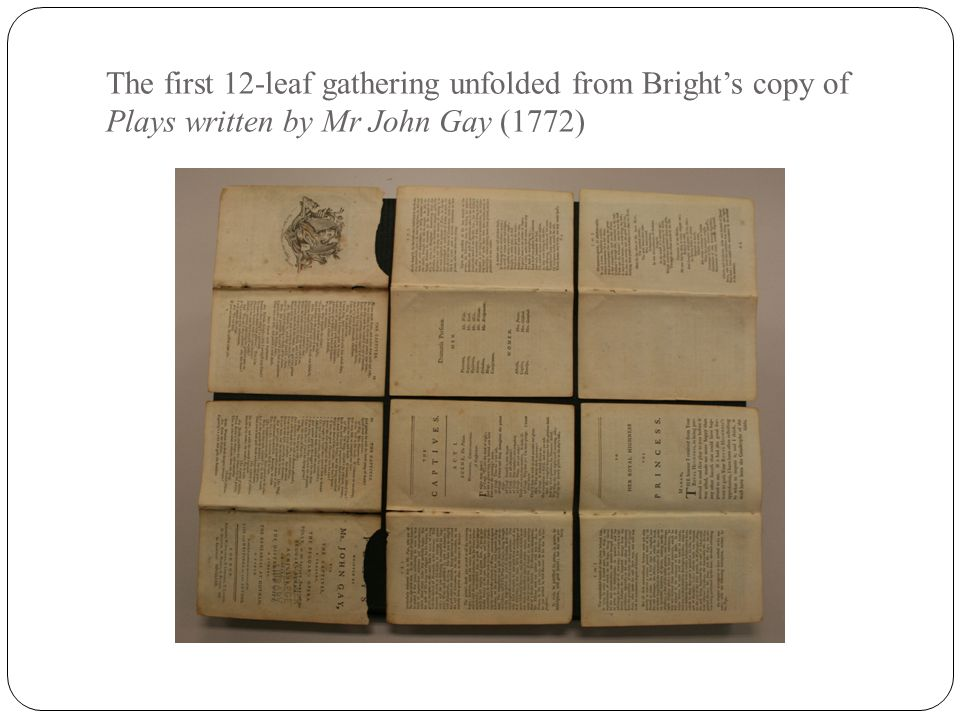 The first 12-leaf gathering unfolded from Bright's copy of Plays written by Mr John Gay (1772)