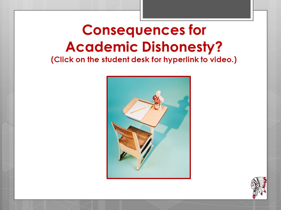 Consequences for Academic Dishonesty? (Click on the student desk for hyperlink to video.)