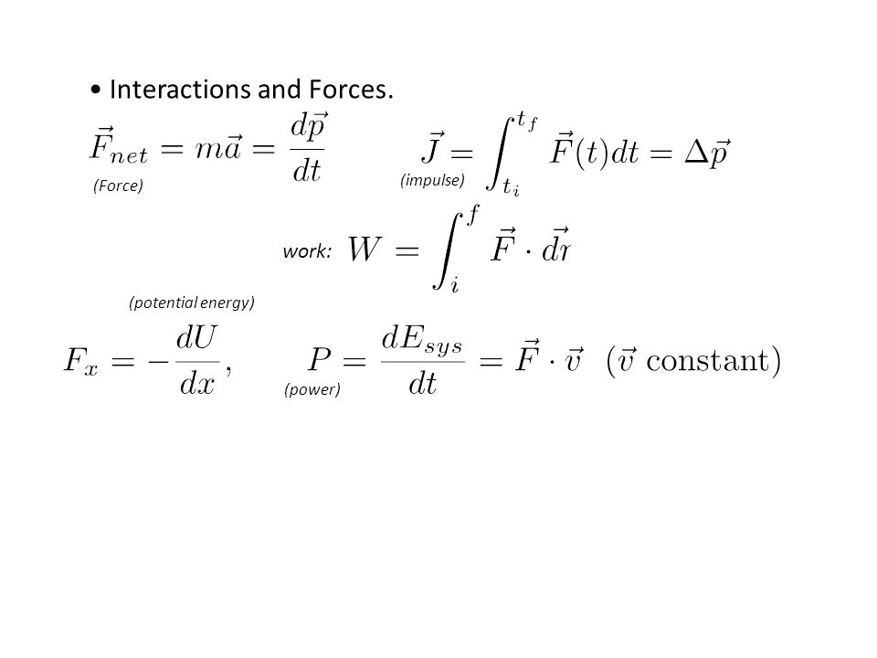 Interactions and Forces. work: (impulse) (Force) (potential energy) (power)