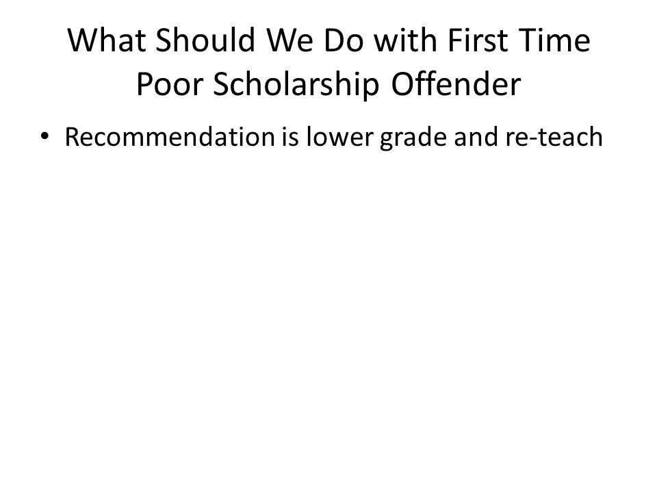 What Should We Do with First Time Poor Scholarship Offender Recommendation is lower grade and re-teach