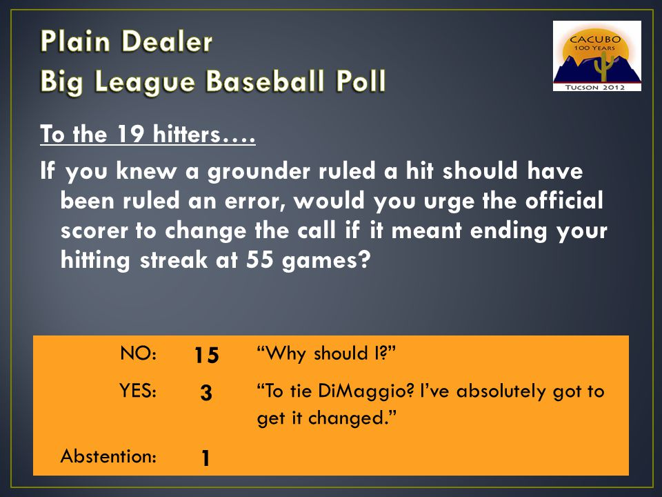 To the 19 hitters…. If you knew a grounder ruled a hit should have been ruled an error, would you urge the official scorer to change the call if it me
