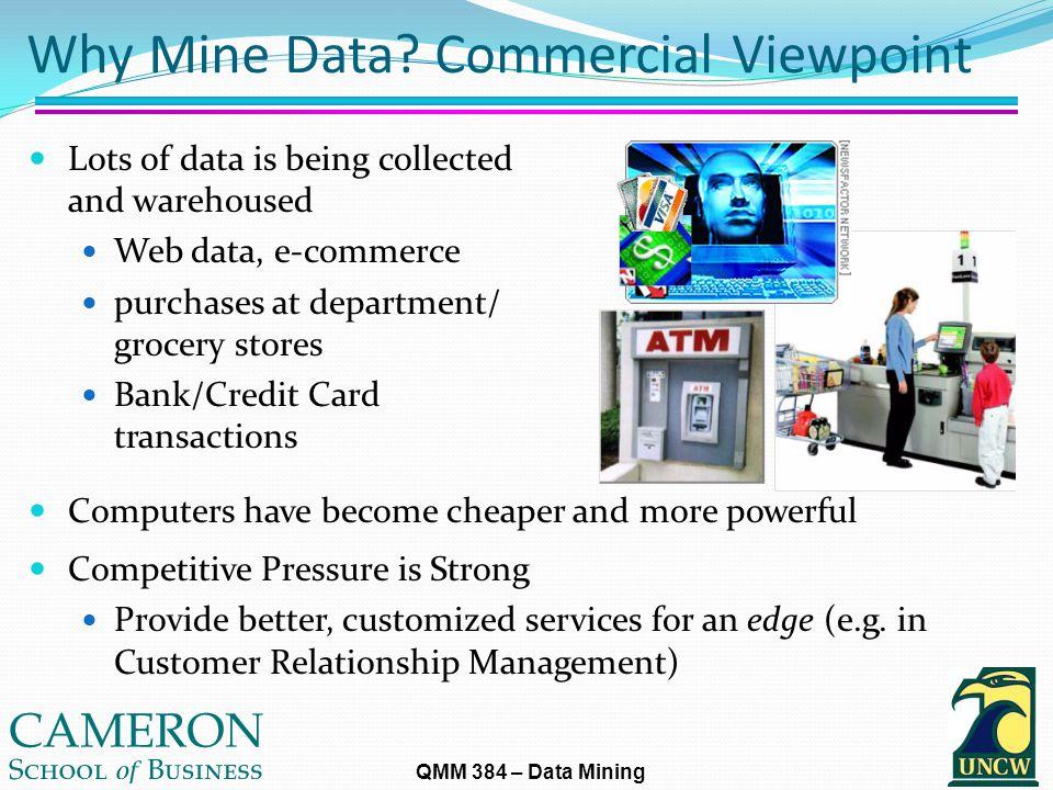 QMM 384 – Data Mining Why Mine Data.