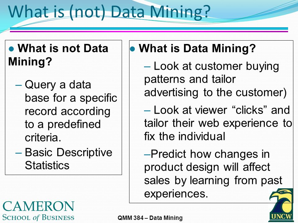 QMM 384 – Data Mining What is (not) Data Mining. l What is Data Mining.