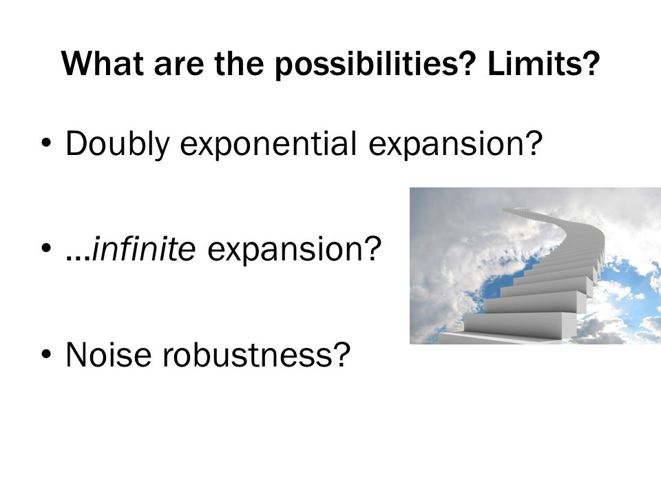 What are the possibilities. Limits. Doubly exponential expansion.