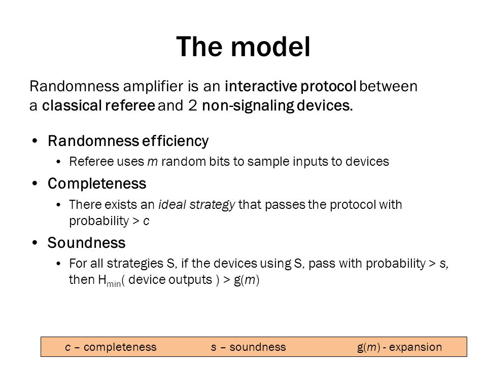 The model Randomness amplifier is an interactive protocol between a classical referee and 2 non-signaling devices.