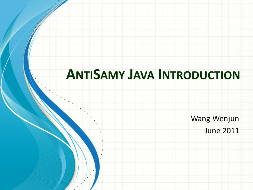 A NTI S AMY J AVA I NTRODUCTION Wang Wenjun June 2011