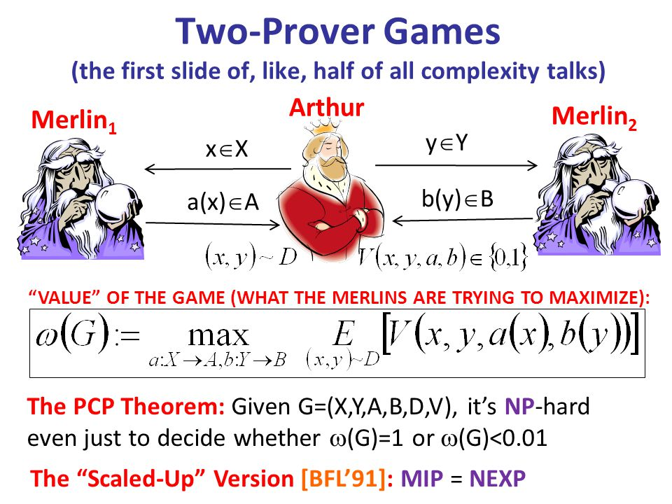 Two-Prover Games (the first slide of, like, half of all complexity talks) Arthur Merlin 1 Merlin 2 xXxX yYyY a(x)  A b(y)  B The PCP Theorem: Given G=(X,Y,A,B,D,V), it's NP-hard even just to decide whether  (G)=1 or  (G)<0.01 The Scaled-Up Version [BFL'91]: MIP = NEXP VALUE OF THE GAME (WHAT THE MERLINS ARE TRYING TO MAXIMIZE):