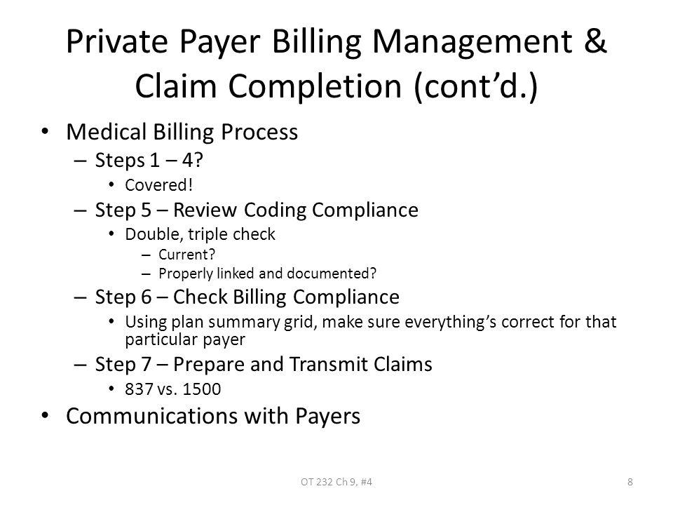 Private Payer Billing Management & Claim Completion (cont'd.) Medical Billing Process – Steps 1 – 4.