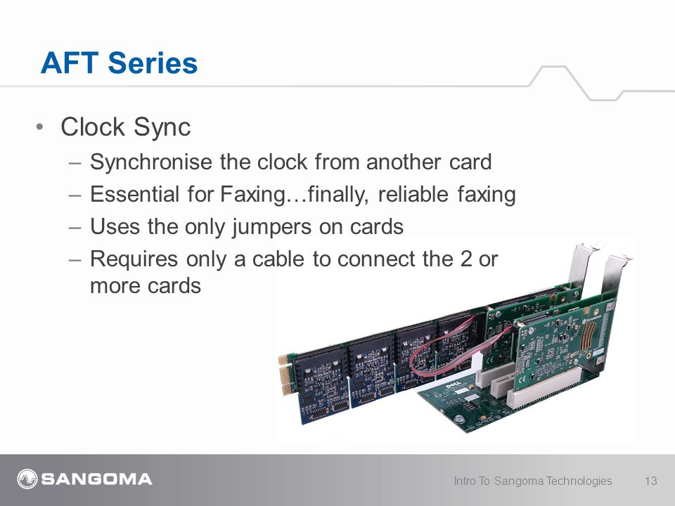 AFT Series Clock Sync – Synchronise the clock from another card – Essential for Faxing…finally, reliable faxing – Uses the only jumpers on cards – Req