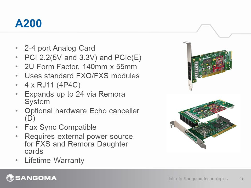 A200 2-4 port Analog Card PCI 2.2(5V and 3.3V) and PCIe(E) 2U Form Factor, 140mm x 55mm Uses standard FXO/FXS modules 4 x RJ11 (4P4C) Expands up to 24 via Remora System Optional hardware Echo canceller (D) Fax Sync Compatible Requires external power source for FXS and Remora Daughter cards Lifetime Warranty Intro To Sangoma Technologies15