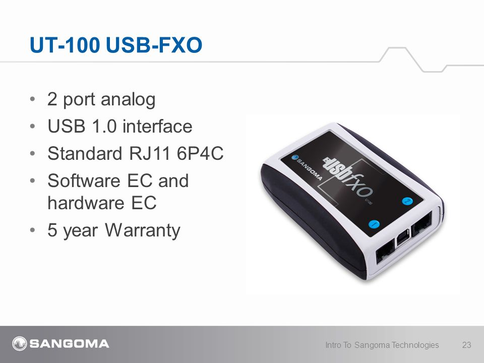 UT-100 USB-FXO 2 port analog USB 1.0 interface Standard RJ11 6P4C Software EC and hardware EC 5 year Warranty Intro To Sangoma Technologies23