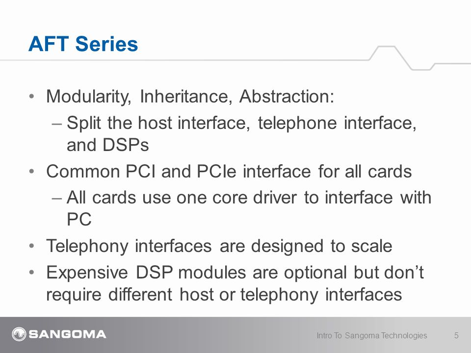 Modularity, Inheritance, Abstraction: –Split the host interface, telephone interface, and DSPs Common PCI and PCIe interface for all cards –All cards use one core driver to interface with PC Telephony interfaces are designed to scale Expensive DSP modules are optional but don't require different host or telephony interfaces AFT Series 5Intro To Sangoma Technologies