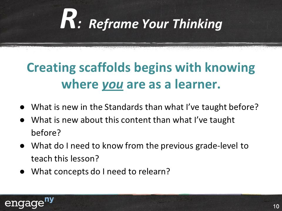 R : Reframe Your Thinking Creating scaffolds begins with knowing where you are as a learner.